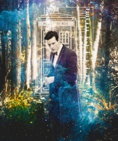 Matt Smith as the Eleventh Doctor with a gorgeous digital art background.   . . Tumblr.