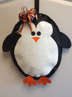 Penguin Burlap Door Hanger