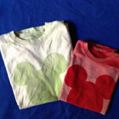 Bleach sprayed T-shirts for our Disney trip! Success. We did the reverse, bleached the head. Borrowed Cricut cartridge from friend. Spray lightly! Do Not over saturate! Thomas dried them with a hairdryer between apps.