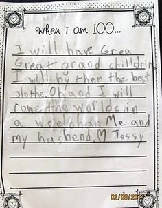 When I am 100...... (100th Day of School Activity)