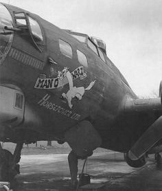 "B-17 ""Man O War II Horsepower Ltd."" of the 322nd Bomber Squadron, 91st Bomb Group. ""Man O War II"" flew numerous missions with the 91st for nine months before being lost in November 1944 in a mission over over Merseburg."