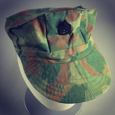 This 8-point cover was made from a WWII camouflaged poncho in Vietnam.  It was  worn by SSgt Robert Edward Tully, who was killed in action in Quang Nam  Province on 16 Jun 1968.  Rest in peace, brother.  Semper Fidelis  #USMC #USA #USMCmuseum #Marines #KilledinAction #SSgt #VietnamVet #VietnamWar  #artifact #Quantico #SemperFi