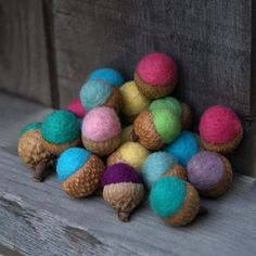Personalize your Acorns  Family of 10 Felted Acorns by Fairyfolk on Etsy.