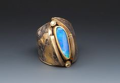 Boulder Opal / Diamond Ring