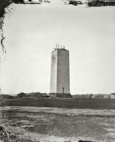 The unfinished Washington monument as it stood for 18 years (1857-1875), due to lack of funds and the civil war