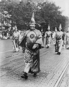 Dr. H.W. Evans, Imperial Wizard of the Ku Klux Klan, Leading His Knights of the Klan in the Parade Held in Washington, D.C.  The three million members of the Klan after WWI were quite open in their activities. Many were small-business owners, independent professionals, clerical workers, and farmers. Members marched in parades, patronized Klan merchants, and voted for Klan-endorsed political candidates. The Klan was particularly strong in the Deep South, Oklahoma, and Indiana.   Year: 1926