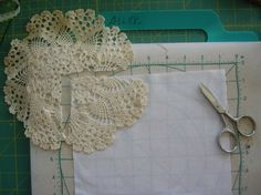 Making a lace crochet & fabric quilt