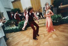 Susan Ford dancing in the East Room during her senior prom that was held at the White House on May 31, 1975.