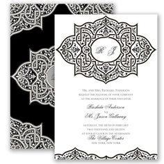Your wedding guests will be enchanted with this sumptuous decorative invitation! #davidsbridal #invitations #blackandwhitewedding