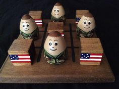 SOLDIER with AMERICAN FLAG tictactoe set by WOODuPlayGames on Etsy, $15.95