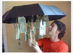Gifts for Him, Her, or Teens:  DIY umbrella packaging for cash / money gift from the Seasonal Home blog the graduate, gift ideas, umbrella, dollar store, graduation gifts, white elephant, parti, birthday gifts, wedding gifts