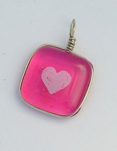 Pink with Heart Fused Glass Pendant for Valentine's Day