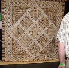 """""Neutrals"" by Carol Stapleton (from San Mateo in 2008) won an Honorable Mention in the Traditional quilt category at PIQF '08.""  Incredible piecing."