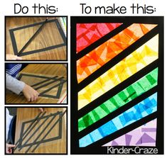 "Instructions for making ""stained glass"" rainbows with tissue paper. classroom, rainbow theme, tissu paper, art idea, rainbows, tissue paper stained glass art, kindergarten blogs, stain glass, kid"