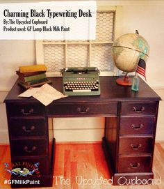 The Upcycled Cupboard, https://www.facebook.com/pages/The-Upcycled-Cupboard/485680184802380?fref=ts, chose General Finishes Lamp Black Milk Paint to give this desk a face lift.  Looks fantastic! We'd love to see your projects made with General Finishes products! Tag us with #GeneralFinishes or share with us through our facebook page. #gfmilkpaint #paintedfurniture