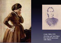 The Crinoline Period, women wearing snood- net headdress for hair in 1850's