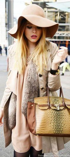 "Cream + Khaki :: Hermes Bag ✮✮""Feel free to share on Pinterest""✮✮"" #fashion www.fashionupdates.net"