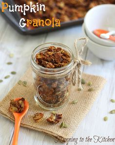 Pumpkin Granola from Running to the Kitchen. Gluten free, grain free and paleo.