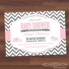 Baby Shower Invitation - Chevron - Modern - Twins, Boy, Girl, Neutral, Sex Unkown, pink, light grey, gray (digital diy printable). $16.00, via Etsy.