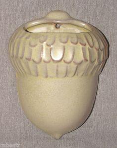 Vintage Frankoma Pottery Wall Pocket Vase Acorn Desert Gold Light Yellow Tan
