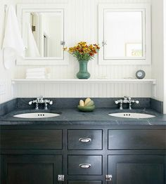 mirrors, black cabinets, bathroom vanities, shelves, bathrooms, sink, medicine cabinets, master baths, light