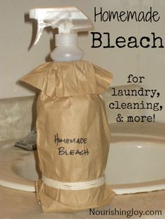 Homemade Bleach for Cleaning makes 1 quart 2 cups hydrogen peroxide (3% solution) 2 tablespoons lemon juice OR 1/2 teaspoon citric acid 2 cups water (or skip to make it more potent( 10 drops lemon essential oil Store in dark or covered bottles, as exposure to light will weaken the solution! Lasts up to 1 month in a clear bottle, 2-3 months in a dark bottle.