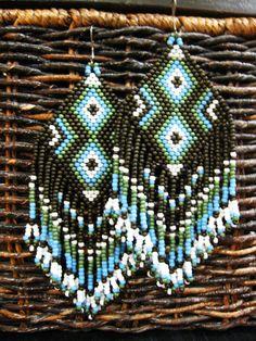 Winter Moon-Native American Inspired Beaded Earrings