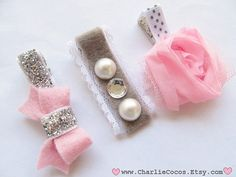 Pink and Gray Hair Bow Set. Pink Flower Hair Clip, Felt Hair Bows, Lace and Pearls.  www.charliecocos.etsy.com