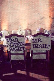 A little cheeky humor shows off the bride and grooms sense of fun at their reception table!