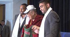 Asotasi and Merritt are blessed by the Dalai Lama