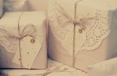 dollies. simple and elegant way of wrapping gifts