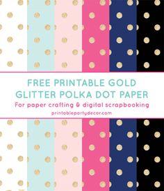Free Printable Gold Glitter Polka Dot Digital Paper from printablepartydecor.com