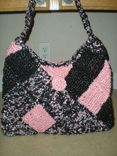 Pink and Black - Plarn Purse
