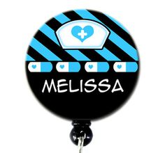 Retractable ID Badge Holder  - Personalized Nurse Black with Choice of Pink or Blue