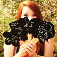 wedding photobooth photo prop chalkboards- I think my family would have fun with the sayings they could write on these :p