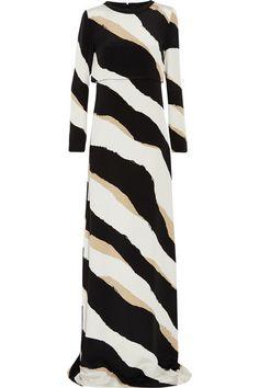 Gucci Printed silk-cady gown
