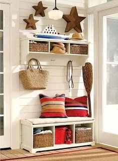 .Entrance hall storage baskets and hanging hooks