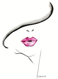 Fashion Illustration print by Helen Simms titled The Lipstick Conundrum, from simple watercolour, stylish, unique gift for her via Etsy watercolor paintings, portrait paintings, art, lip drawing, pink lips, lips drawing, helen simm, fashion painting, watercolour portrait