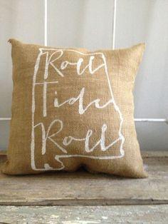 University of Alabama burlap pillow Roll Tide by TwoPeachesDesign, $26.00