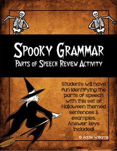 Spooky Grammar - Halloween themed Parts of Speech Review ($)