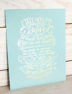 """gorgeous """"vows"""" print in pool + metallic foil.  perfect wedding gift! $20"""