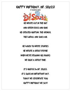 Dr Seuss Poem for March 2nd