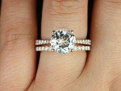 Taylor Original Size 14kt Rose Gold Round White Topaz and Diamond Cathedral Wedding Set