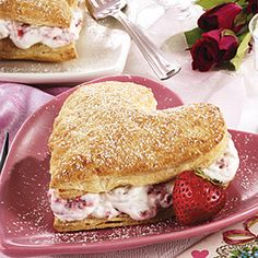 Strawberry Heart Pastries. Sounds like a light and yummy dessert. Especially if I make him a steak & potato for dinner!
