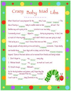 crazy baby mad libs for digital by milestonetreasures baby mad