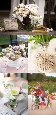 Centros de mesa originales para bodas en el campo.  Country chic Wedding centerpieces