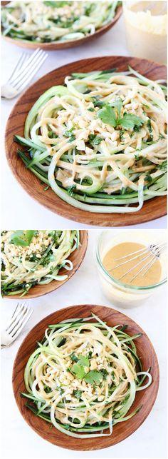 Cucumber Noodles with Peanut Sauce  twopeasandtheirpod.com #meatlessmonday @aikozz