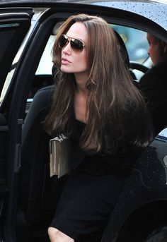 Angelina Jolie in black style _