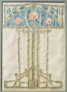 Glasgow School Embriodered & Appliqued Roses Panel. Linen. Circa 1900.