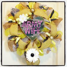 Original custom made Army wife support the troops yellow ribbon deco mesh yellow, white, burlap, and camo chevron wreath as a special request for my customer!